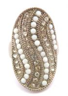 Vintage Large Oval Rhinestone And White Milk Glass Bead Ring
